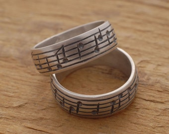 Music Note Wedding Ring Set, His and Her Sterling Silver Wedding Bands, Personalised Promise Rings, Engraved Music Note Band Rings, BE62
