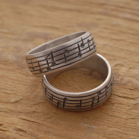 note wedding ring set his and sterling silver