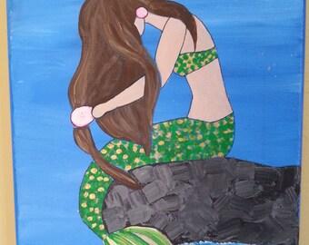 "8"" x 10"" Acrylic Painting of Mermaid on Canvas"