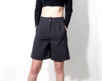 Vintae Grey Gray Formal Classic Midi High Waist Shorts Size S / UK10