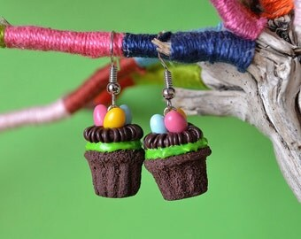Easter cupcake earrings,Easter eggs nest cupcakes,Easter chocolate cupcakes,Easter earrings,Food jewelry,Polymer clay jewelry