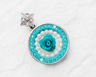 Light Turquoise Swarovski Crystal Necklace, Aqua Teal Blue Swarovski Crystal Flower, Swarovski Pearl Jewelry, Bridal Pendant Necklace