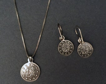 Sterling Silver Coin Necklace & Earring Set