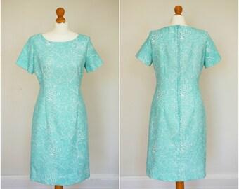 "1960s 60s Blue Green Vintage Style Wiggle Dress / Mad Men Sheath / 32"" waist"