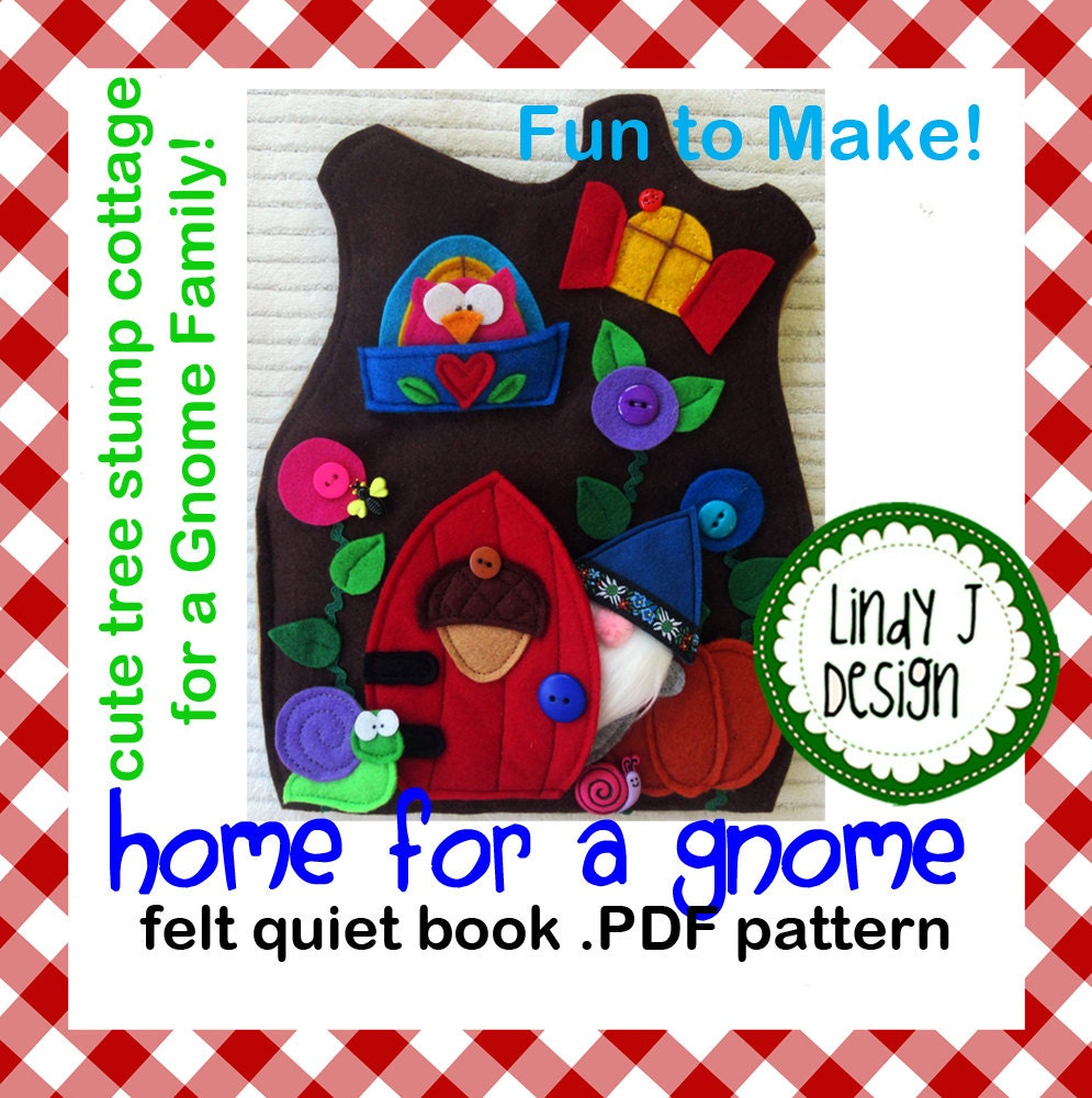 home for a gnome quiet book .pdf pattern from lindyjdesign on etsy