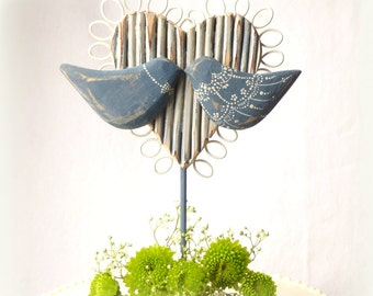 Wood Wedding Cake Topper, Carved Love Birds Cake Topper with a Real Twig Wood Heart, Rustic Wedding Topper/ Cake Topper
