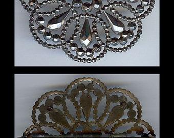 ELEGANT ANTIQUE VICTORIAN cut steel flower brooch pin