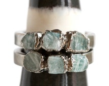 amazonite ring / teal stone ring / jade ring / natural stone ring / turquoise ring / stacking ring / stackable stone ring / mineral ring