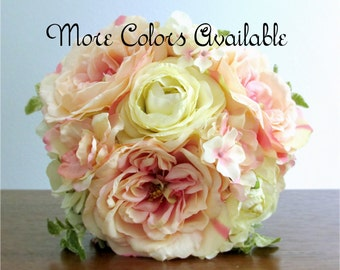 """Silk Flower Wedding Bouquet, Lace, Rhinestone Crystals, Choice of Colors, Ivory, Pink, Peach, Yellow, or Red, """"New Dreams"""""""
