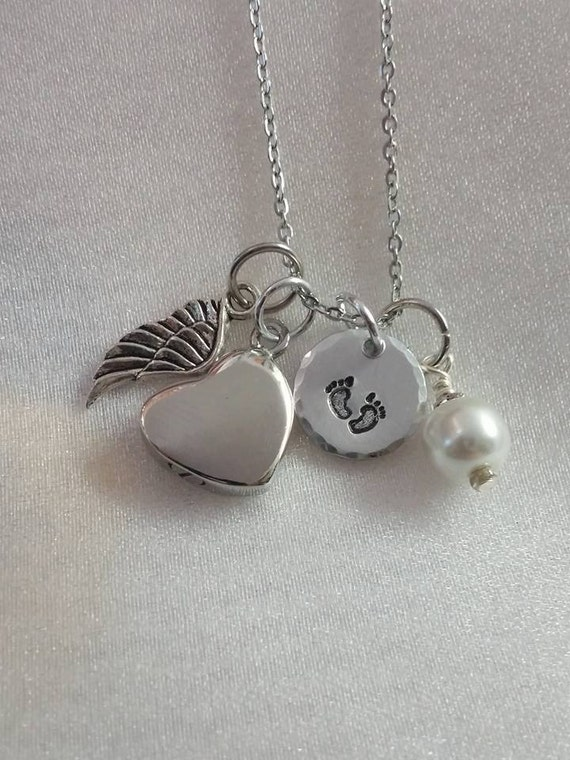 Ashes Necklace - Cremation Urn Necklace - Sympathy Gift - Ashes Pendant - Angel Wing Necklace - Infant Child Loss Memorial - Keepsake