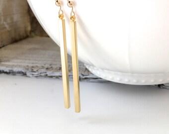 Gold Long Bar Dangle Earrings, Silver Bar Earrings, Sterling Silver Long Bar Earrings, Gold Spear Earrings, Silver Drop Bar Earrings