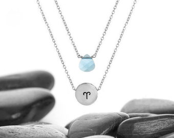 Zodiac Sliding Charm and Swarovski Crystal Layer Necklace in Aluminum