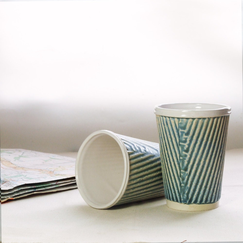 Coffee Cup Or Ceramic Travel Mug Porcelain Cup In Slate Blue