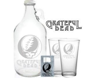 "Grateful Dead Growler 64oz- Beer Growler with Grateful Dead Engraving- ""Grateful Dead Gift"""