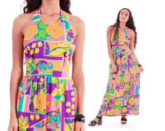 70s Vintage Neon Floral Maxi Halter Dress Psychedelic Mod Op Art Long Backless Festival Clothing Womens Size Small