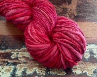 Handspun Hand Dyed Yarn - Bulky Thick and Thin - Merino Wool Single Ply - Scarlett - 96 yards