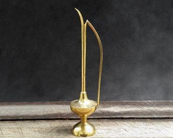 Brass Ewer - Tall Brass Pitcher - Long Neck Oil Dispenser - Hand Etched India Brass - Vintage