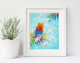 Blue Owl Print, Owl Baby Shower, Owl Nursery Wall Art, Red Owl, Orange Owl Printable Wall Decor Colorful Prints, 8x10 Instant Download Print