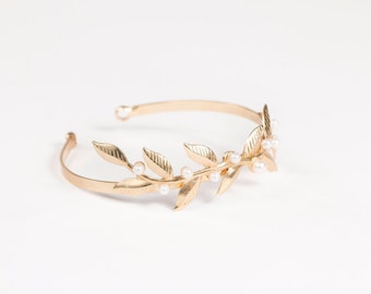 Gold Leaf bracelet, Gold bracelet, Cuff bracelet, Bridal bracelet, Wedding bracelet, Gold Leaf bracelet, Gold bracelet