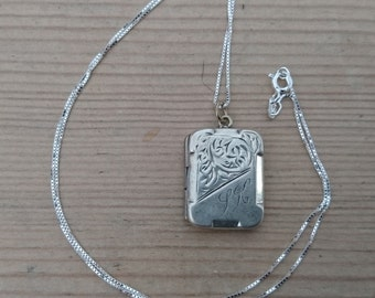 Vintage sterling silver square locket and chain