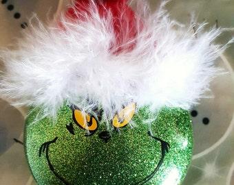 Grinch Ornament, Mr. Grinch, Christmas, The Grinch, Ornaments, Glitter Ornaments, Stocking Stuffer, Secret Santa, Teacher Gift, Hostess Gift