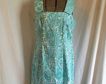 Shop closing Vintage day dress 80s paisley dress turquoise aqua white paisley dress Danny Nicole dress size 14