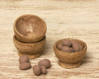 Miniature Wooden Bowl for Your Dollhouse