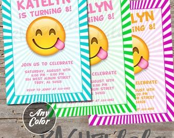 Emoji invitation, printable, digital print