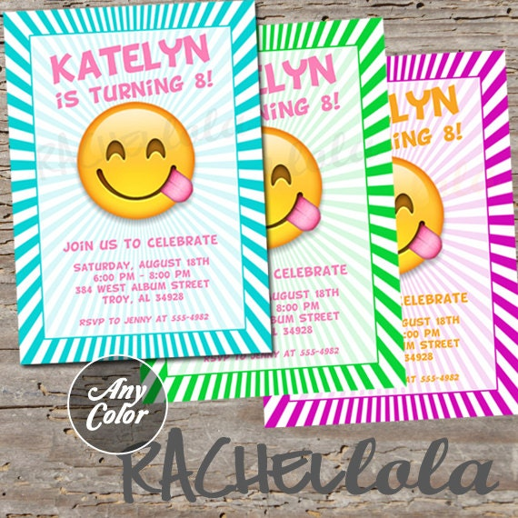 Emoji invitation printable digital print