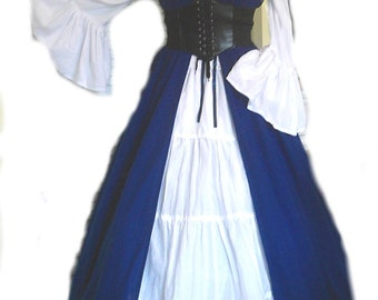 Renaissance Pirate Medieval Peasant White Chemise Blouse Top Steampunk Bell Sleeve Off Shoulder Long Sleeve S - XL