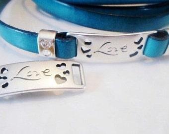 Silver Plated Zamak Love and Hearts Bar for 10mm Flat Leather Bracelets,  Bracelet findings,  Jewelry Slide, Bracelet bead