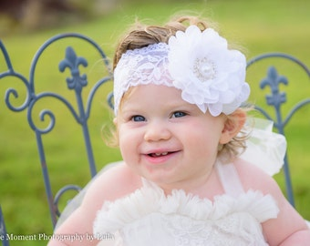 White Flower Headband, Christening Headband, White Baptism Headband, Flower Girl, Baptismal Hair Bow, Wedding, Baby Headband
