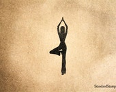 Tree Yoga Pose Rubber Stamp - 2 x 3 inches