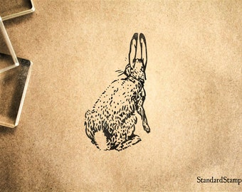 Cottontail Rabbit Rubber Stamp - 2 x 2 inches
