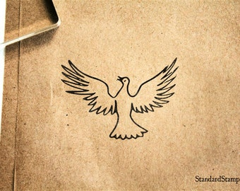 Dove in Flight Rubber Stamp - 2 x 2 inches