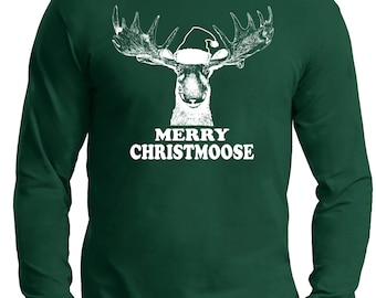Christmas Gift  Ugly Sweater Moose lover, on a Long Sleeve t- shirt, Moose,Christmas Gift,ugly Christmas sweater, Christmas t shirt, fun