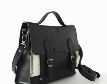 BLACK LEATHER BRIEFCASE/Business bag/Mens briefcase/Customized bag/Gifts for him/Leather work bag/Bags and purses/Laptop bag/Gifts for her