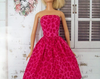 Handmade Barbie Clothes, Hot Pink Animal Print Dress, Barbie Party, Doll Dress, Pink Doll Dress, Fashion Doll Clothes, Girls Gift Idea
