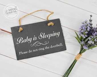 Baby is Sleeping, Please Do Not Ring the Doorbell - Slate Sign
