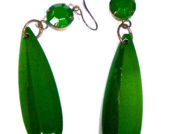 Vintage Green Bakelite Dangle Earrings, LONG, and Quite Deco