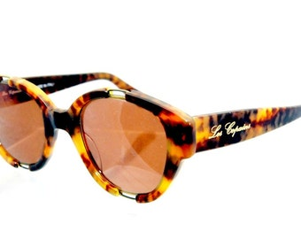 Vintage Sunglasses  Les Copains 11 col. 299 square Tortoise Hippie Steampunk Hand Made in Italy