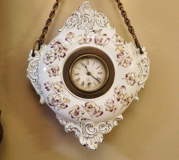 Paris Porcelain Art Nouveau Period Lamp Chinese Taste: 1800s Antique Porcelain Clock Hanging Wall Clock Victorian Art