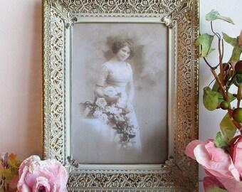Vintage Gold White Picture Frame,Gold White Frame,Vintage Picture Frame,Vintage Gold Picture Frame,Shabby Picture Frame,Double Picture Frame