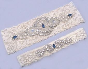Wedding Garter, Something Blue, Bridal Rhinestone Garter, Crystal Garter, Garter Set, Ivory or Off White Lace Garter, Keepsake Toss Garter