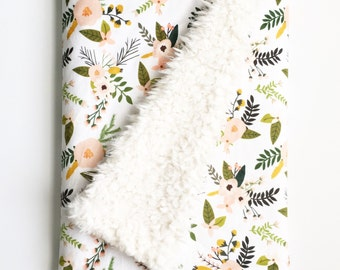 Dream Blanket Blush Sprigs and Blooms. Baby Blanket. Faux Fur Blanket. Lovey. Minky Baby Blanket. Floral Blanket. Blush Baby Blanket.