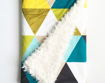 Baby Blanket Mustard Triangles. The Dream Blanket. Faux Fur Baby Blanket. Minky Baby Blanket. Triangle Baby Blanket. Teal Baby Blanket.
