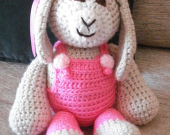 "Crocheted bunny rabbit stuffed animal doll toy ""Tilly"""