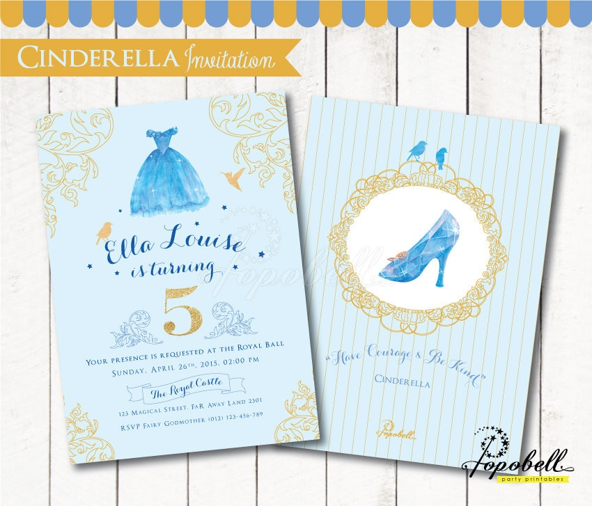 Cinderella Invitation for Cinderella birthday party.
