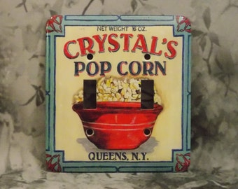 Metal Popcorn Light Switch Cover - Double Switch Plate - 2T Double Toggle - Crystal's New York Popcorn