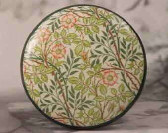 """1-1/2"""" William Morris Dresser Knobs - William Morris Floral Green - Floral Knobs"""